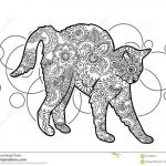 Adult Cat Coloring Pages Fresh Black and White Hand Drawn Cat Doodle Animal Paisley Adult Stress