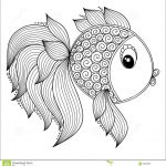 Adult Coloring Book Lion Beautiful Pattern for Coloring Book Cute Cartoon Fish Stock Vector