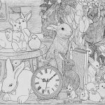 Adult Coloring Pages Fuck Beautiful Easter Bunny Time Adult Coloring Pages Gray Scale