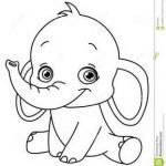 Baby Elephant Color Pages Marvelous Outlined Baby Elephant for Coloring Books Elephants