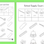 Back to School Coloring Sheets Fresh School Supplies Colour and Count Worksheet