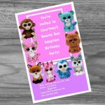 Beanie Boo Speckles Inspired Beanie Boo Birthday Party Kit Everything You Need for Your Beanie Boo Adoption Party Custom Made Invitations Games and Adoption Certs