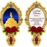 Belle Mirror Disney Amazing 20 Personalized Beauty and the Beast Mirror Invitation Printed Front