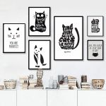 Black Cat Silhouette Best Abstract Cat Quotes Canvas Printings Black and White Animals Posters