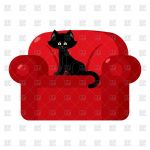 Black Cat Silhouette Best Black Cat On Red Armchair Vector Image Of Plants and Animals