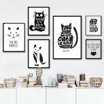 Black Cat Silhouette Excellent Abstract Cat Quotes Canvas Printings Black and White Animals Posters