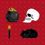 Black Cat Silhouette Inspiration Witch Set Magical Pot and Skull Black Cat and Candle for Spells