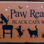 Black Cat Silhouette Inspired Black Cats Paw Readings Sign Halloween Decorations Witches