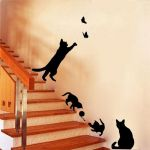 Black Cat Silhouette Inspiring Cat Play butterflies Wall Sticker Removable Decoration Decals for