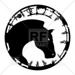 Black Cat Silhouette Wonderful Black Stamp with Horse Vector Image Of Plants and Animals