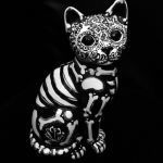 Cat Sugar Skull Inspirational Day the Dead Cat Sugar Skull Kitty Figure Statue Collectible Ooak