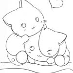 Cats and Kittens Coloring Books Beautiful Two Kawaii Kittens In Cute Coloring Page for Girls