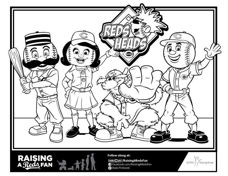 Chicago Cubs Coloring Book Wonderful Reds Mascot Coloring Sheet Raising A Reds Fan