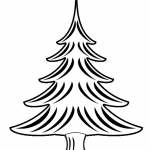 Christmas Tree Coloring Best Clip Art Black and White
