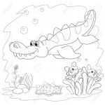 Coloring Book Sea Animals Best Coloring Book Funny Dinosaur In A Sea Cartoon and Vector isolated