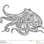 Coloring Book Sea Animals Exclusive Octopus Coloring Book for Adults Vector Stock Vector Illustration