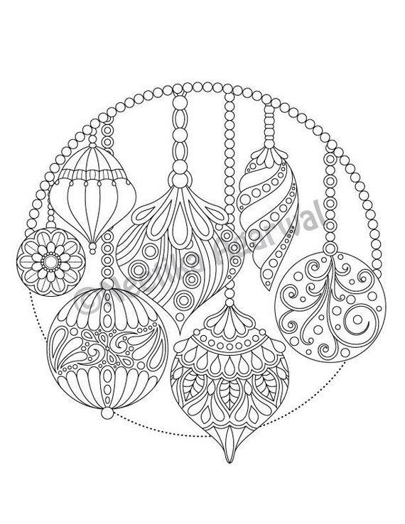 Coloring Pages for Adults Christmas Inspiring Christmas Hanging ornaments Adult Coloring Page Christmas