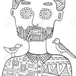 Coloring Pages Of Birds and Flowers Elegant Hipster Man with Birds and Flowers His Head Coloring Page