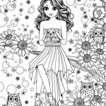 Coloring Pages People Marvelous Girl with Bunny Flowers Coloring Page
