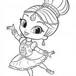 Coloring Pages Shimmer and Shine Beautiful Shimmer Doing Ballet E 802—1024 and Shine Coloring