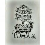 Cow Print Stencil Awesome Mandi Indian Elegant Cow and Calf Painting Work Of Sanjhi Art Buy
