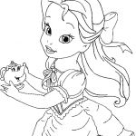 Disney Princess Coloring Pages Online Inspired Little Belle Coloring for Kids Princess Coloring Pages