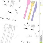 Dot to Dot Coloring Books Awesome Cartoon Spoon Knife and fork Coloring Book and Dot to Dot Game