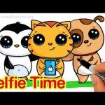 Draw so Cute Marvelous Selfie Time Easy How to Draw Penguin Cat and Dog Friends Taking