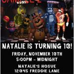Five Nights at Freddy's Foxy Pictures Inspired 90 Five Nights at Freddys Birthday Invitation Template Five
