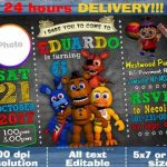Five Nights at Freddy's Foxy Pictures Pretty 96 Five Nights at Freddys Birthday Invitation Template Five