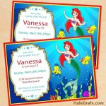 Free Little Mermaid Party Printables Wonderful Little Mermaid Birthday Invitation Girl Invitations Party Free