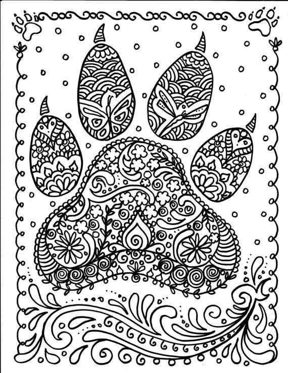 Free Mandalas to Color Creative Instant Download Dog Paw Print You Be the Artist Dog Lover Animal