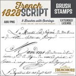French Script Wrapping Paper Elegant Brushes & Overlays