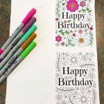 Happy Birthday Cards to Color and Print Fresh Happy Birthday Card with Flowers and Leaves Pdf Zentangle Coloring