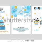 Happy Birthday Cards to Color and Print Fresh Happy Birthday Cards Set Blue Golden Stock Vector Royalty Free