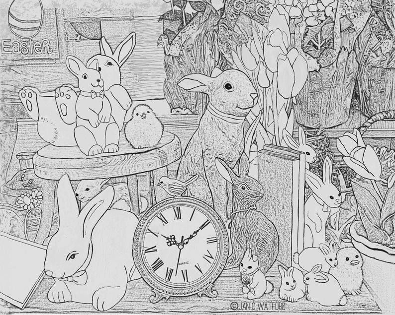 Happy Easter Coloring Pages Elegant Easter Bunny Time Adult Coloring Pages Gray Scale