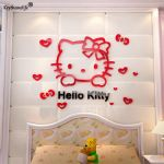 Hello Kitty Snowman Wonderful 3d Pvc Cute Hello Kitty Wall Sticker for Kid Bedroom Living Room