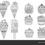 Ice Cream Coloring Book Awesome Drawing Ice Cream Cupcakes Set Adult Coloring Book Coloring Page