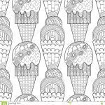 Ice Cream Coloring Book Marvelous Black White Seamless Pattern with Decorative Ice Cream for Coloring