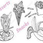 Ice Cream Coloring Book Marvelous Snacks and Desserts Milk Shake Ice Cream Banana French Fries