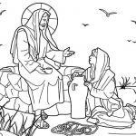 Jesus Colouring Sheets Excellent Jesus and the Samaritan Woman at the Well Bible Coloring Page