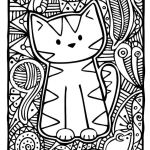 Kitty Cat Coloring Pages Printable Brilliant Coloring Page Print Kitten Adult Difficult Cute Cat Colorings 56