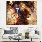 Lion King Pictures to Print Creative Hd Print Abstract Native American Girl Indian Feathered Lion Animal