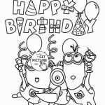 Minion Coloring Page Brilliant Happy Birthday Coloring Pages for Kids