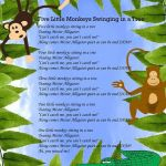 Monkey Preschool Animals Excellent Save A Copy Of Five Little Monkeys Swinging In A Tree Use the Copy