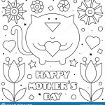 Mother Day Coloring Sheet Inspiration Happy Mothers Day Coloring Page Vector Illustration Cat Stock