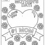 Mothers Day Coloring Card Wonderful I Love You Mom Kindergarten