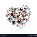 Mothers Day Coloring Pages Free Amazing Coloring Image Heart for Mothers Day Royalty Free Vector