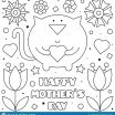 Mothers Day Coloring Sheet Inspired Happy Mothers Day Coloring Page Vector Illustration Cat Stock