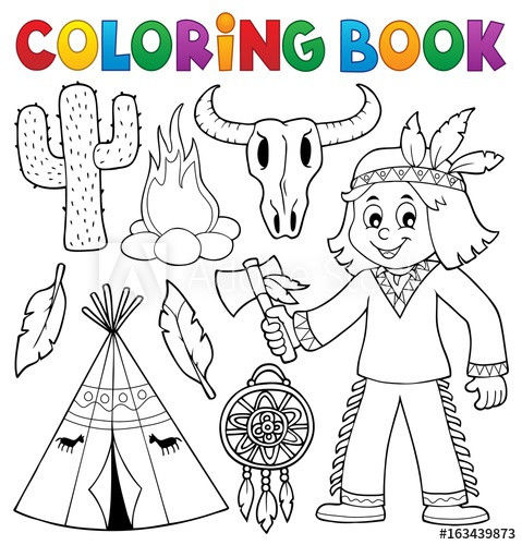 Native American Coloring Books for Adults Inspiration Coloring Book Native American theme 2 Buy This Stock Vector and